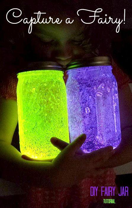 Glowing Fairy Jars using Glow Sticks