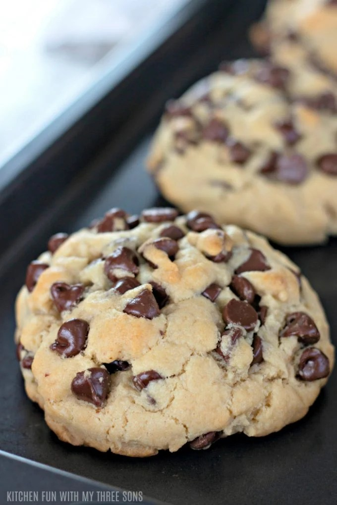 freshly baked Giant Chocolate Chip Cookies on a cookie sheet