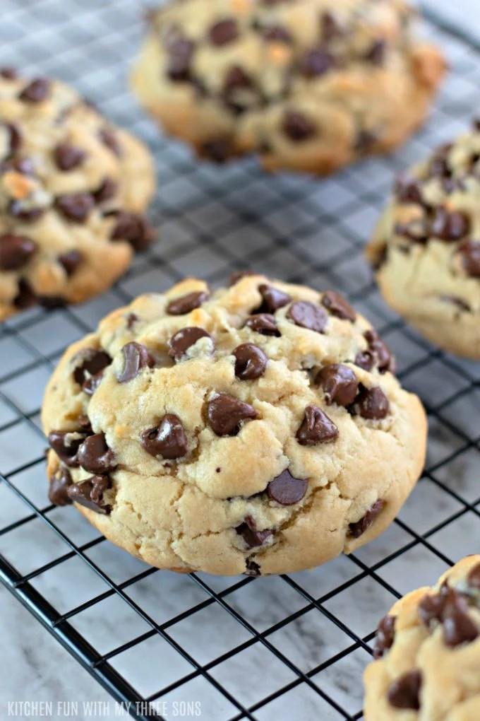 Giant Chocolate Chip Cookies cooling on a wire cooling rack
