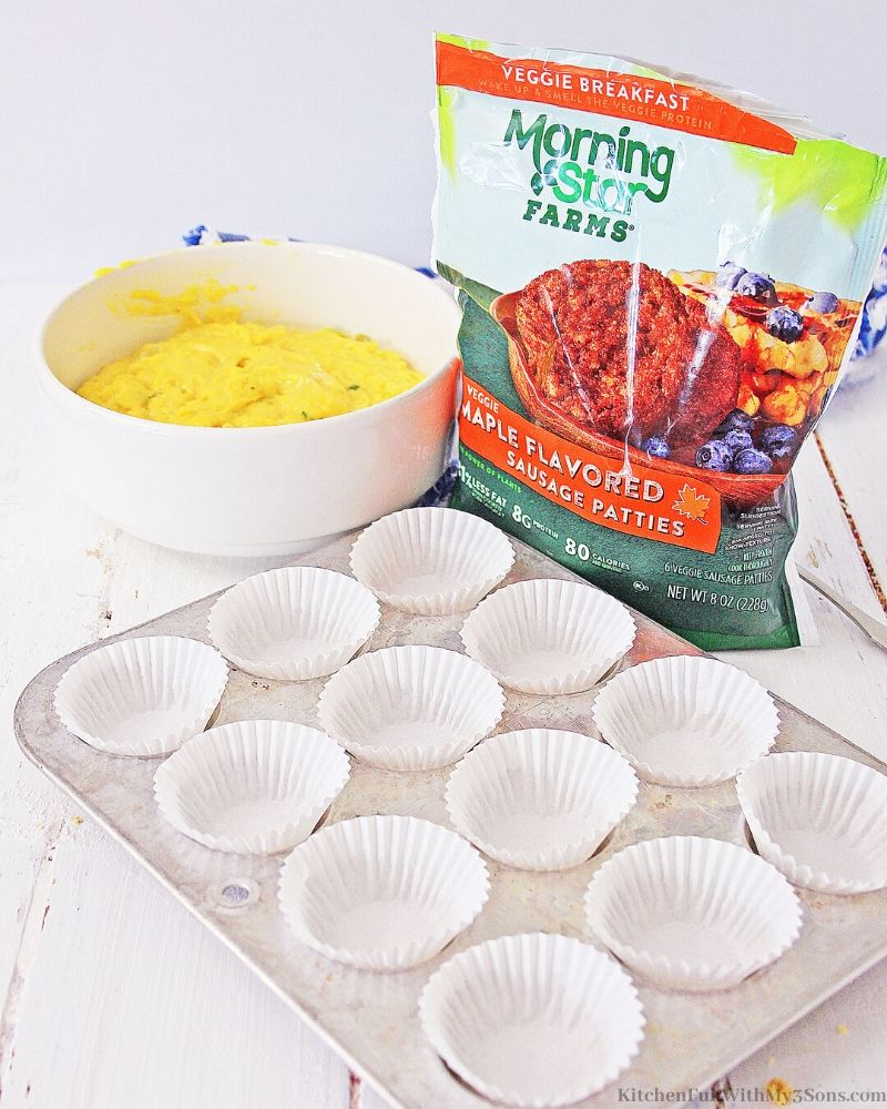 ingredients for muffins and a cupcake pan with liners