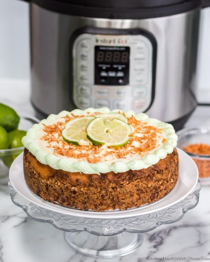 Margarita Cheesecake on a white plate
