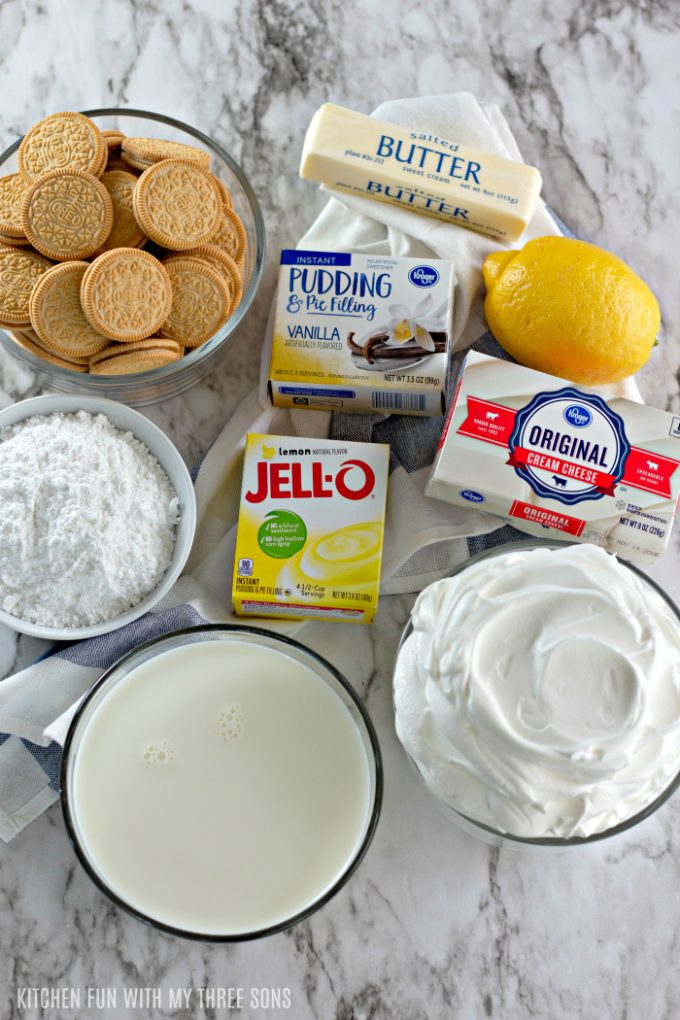 ingredients to make No Bake Lemon Lasagna