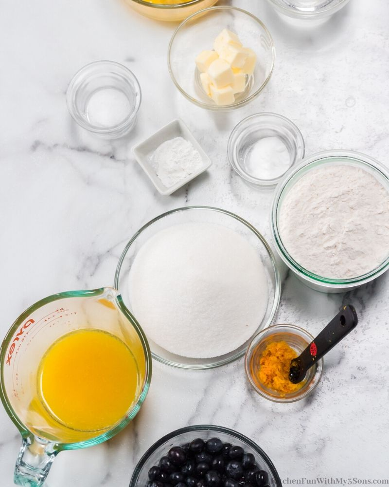 ingredients for Orange Blueberry Bread