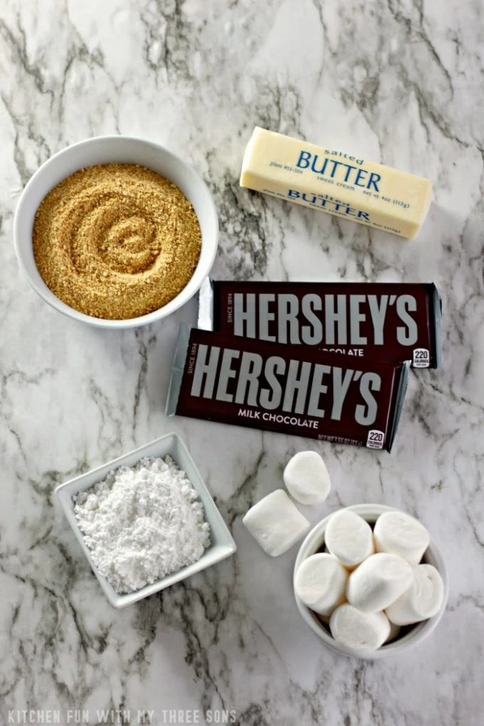 Ingredients to make S'mores Cookie Cups