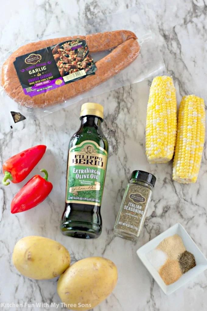 ingredients to make Garlic Kielbasa Grilled Foil Packets