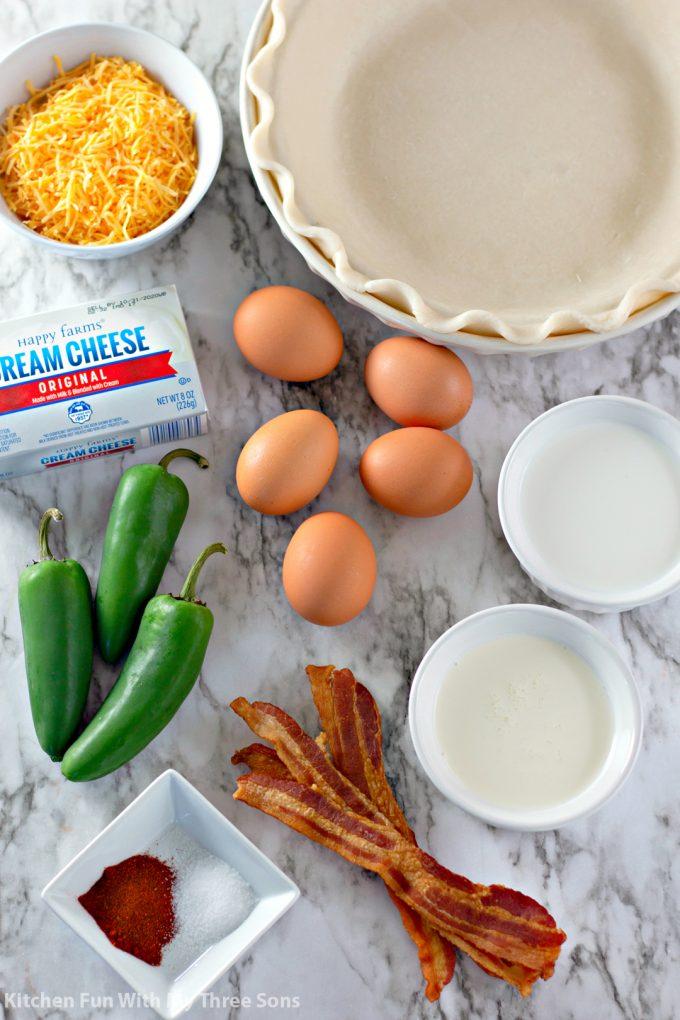 ingredients to make Jalapeño Popper Quiche