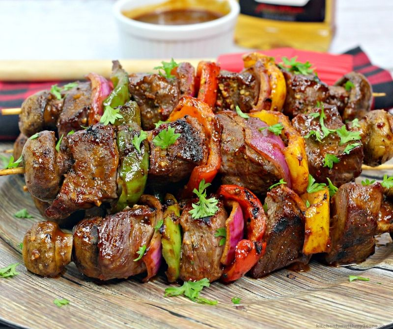 Spicy Bourbon BBQ Steak Kabobs