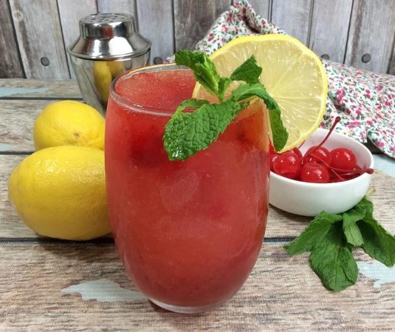 Boozy cherry lemonade