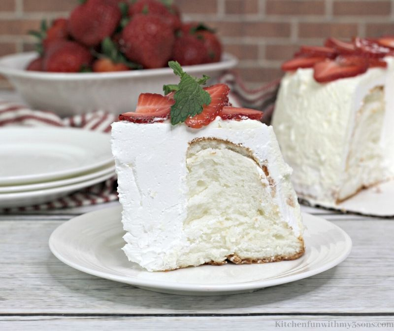 slice of angel food cake on a white plate