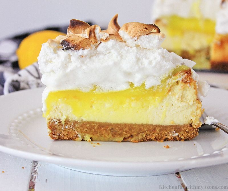 slice of lemon meringue cheesecake