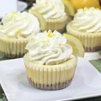 Mini Lemon Cheesecake is a cute little treat to make for anyone who loves the sweet and tangy flavors of lemon. Top it off with whipped cream and a fresh lemon.