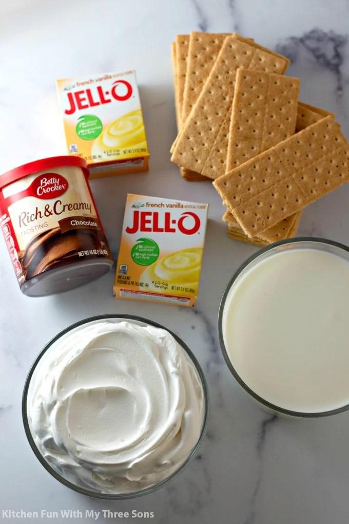ingredients to make No Bake Eclair Cake