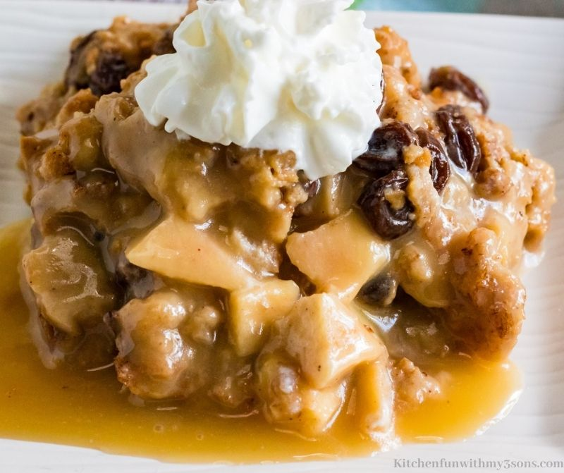 homemade bread pudding on a plate