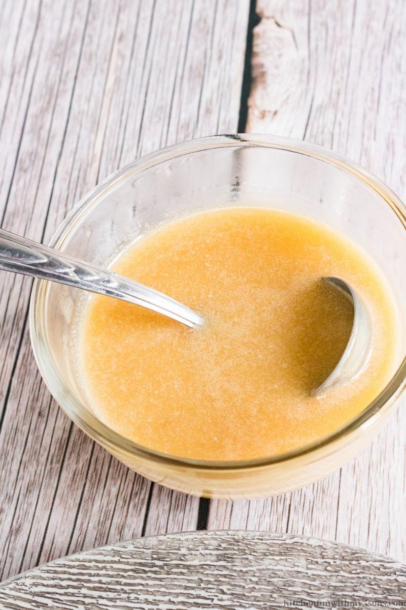 vanilla rum sauce in a bowl