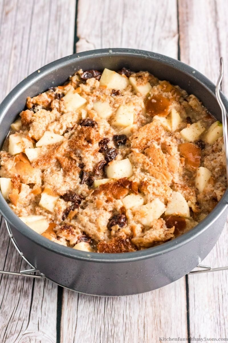 bread pudding in a pan to be packed