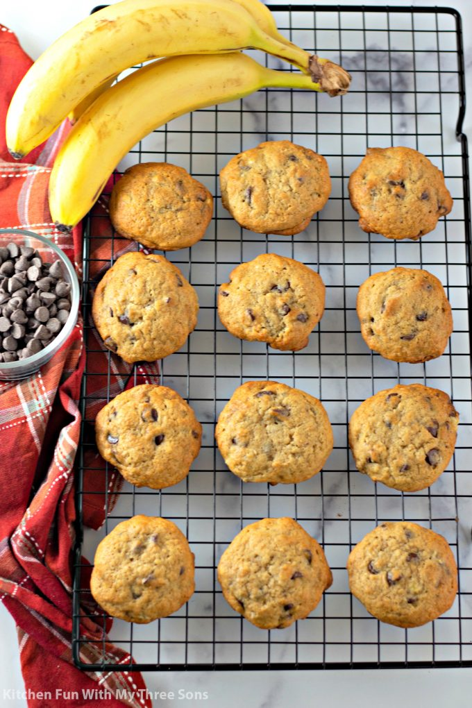 Banana Chocolate Chip Cookies on a wire cooling rack