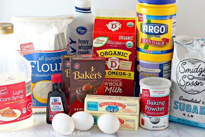 ingredients to make Boston Cream Cupcakes