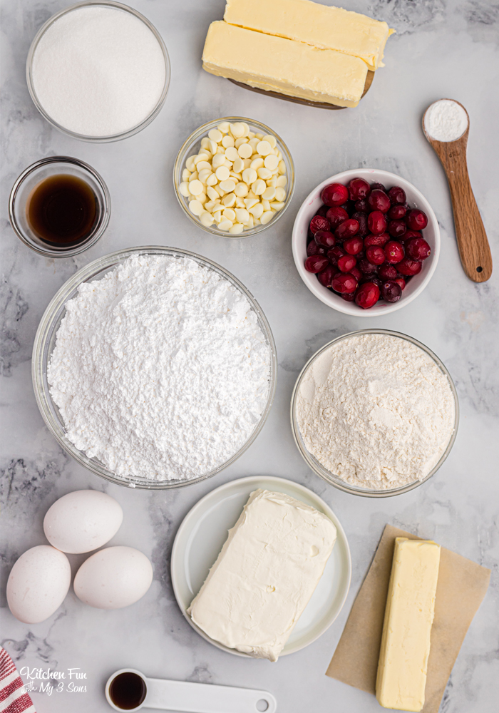 Ingredients for Pound Cake with Cranberries