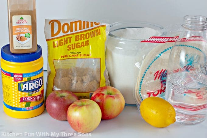 ingredients to make Apple Salsa with Cinnamon Sugar Chips
