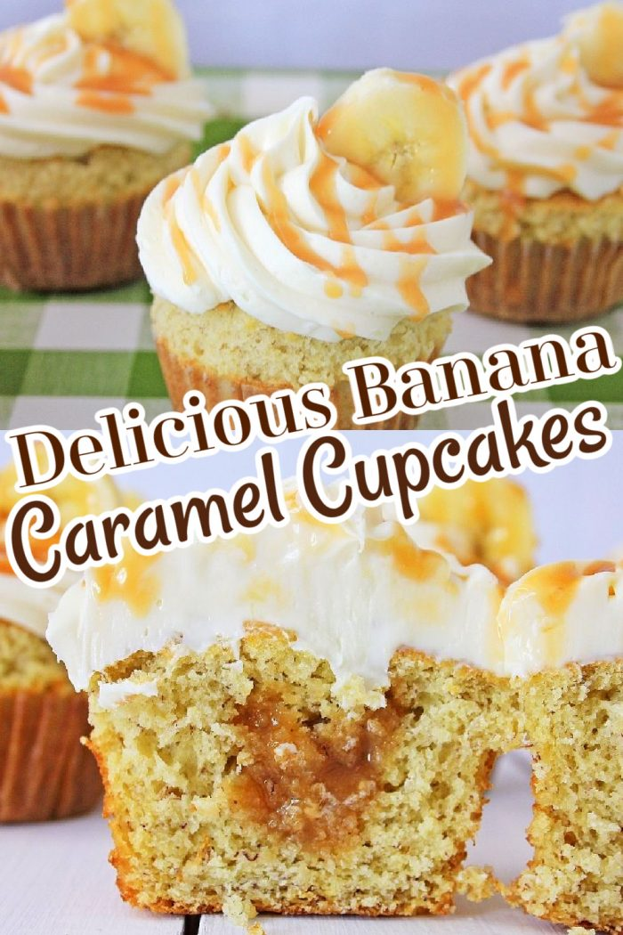 Delicious Banana Caramel Cupcakes with brown and white lettering.