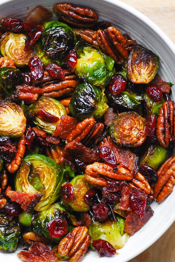 Roasted Brussels Sprouts with Bacon, Toasted Pecans, and Dried Cranberries.