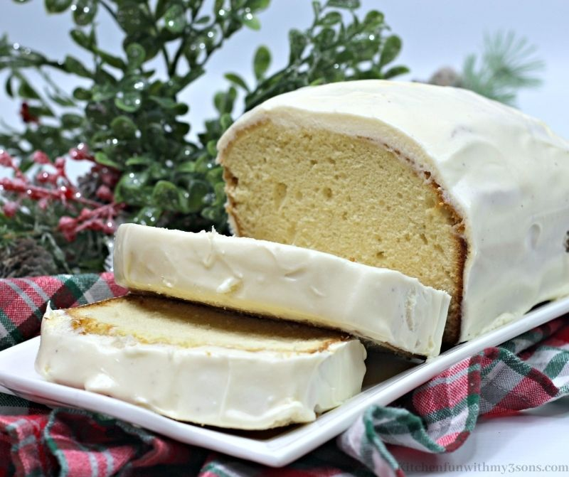 Eggnog Quick Bread on a white platter.