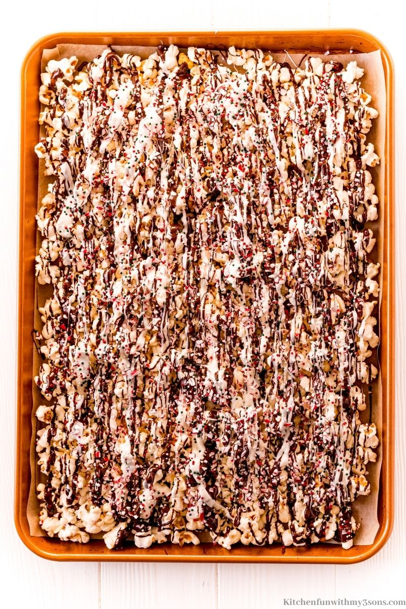 The chocolate, candies and sprinkles on the popcorn.