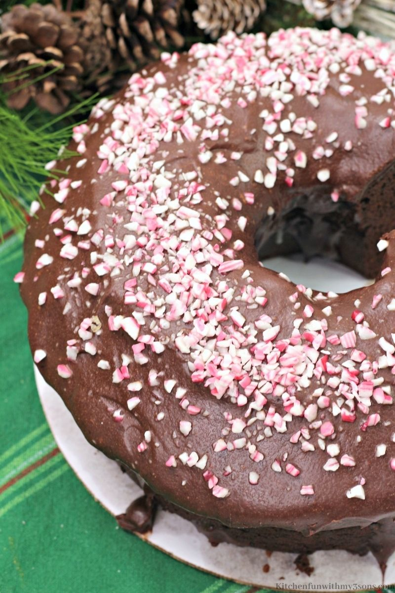 The whole Peppermint Mocha Bundt Cake on a serving platter.