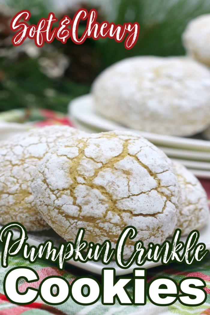 pinterest image for pumpkin spice crinkle cookies
