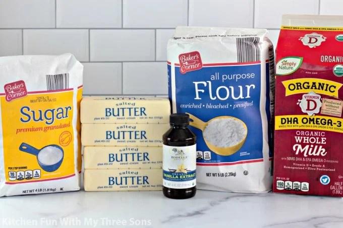 ingredients to make Shortbread Cookie Press Cookies