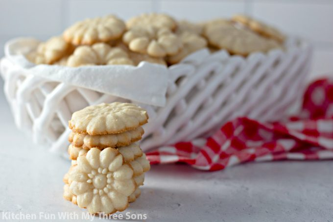 Shortbread Cookie Press Cookies in a white basket with a red napkin