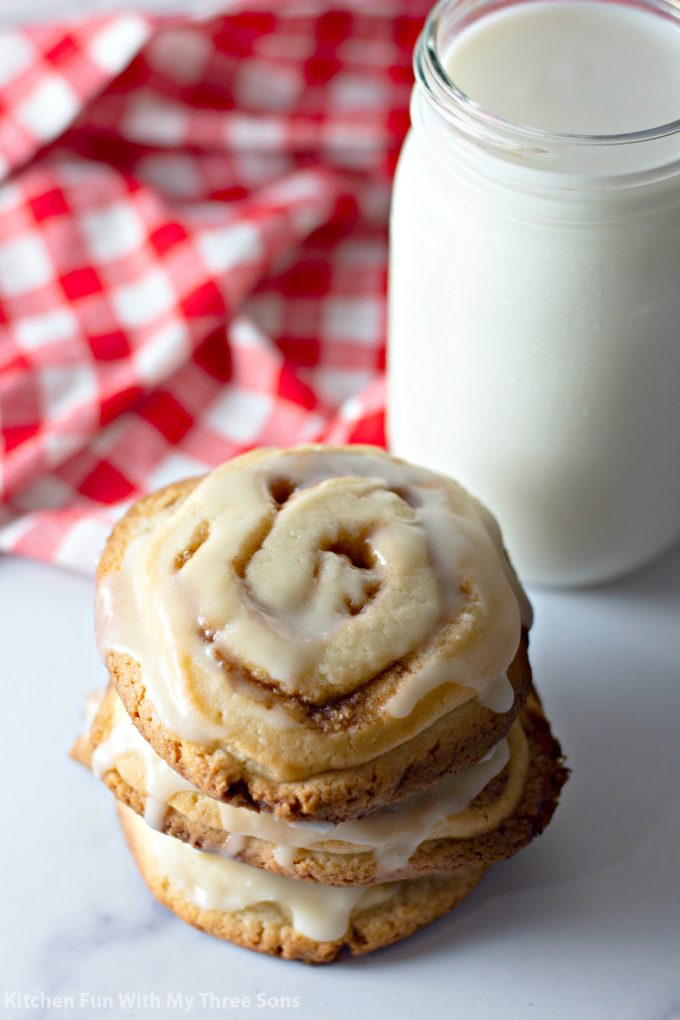 Frosted Cinnamon Roll Cookies with classic frosting