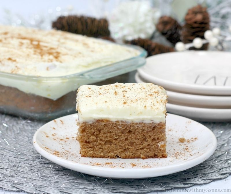 Gingerbread Sheet Cake Recipe on a serving plate.