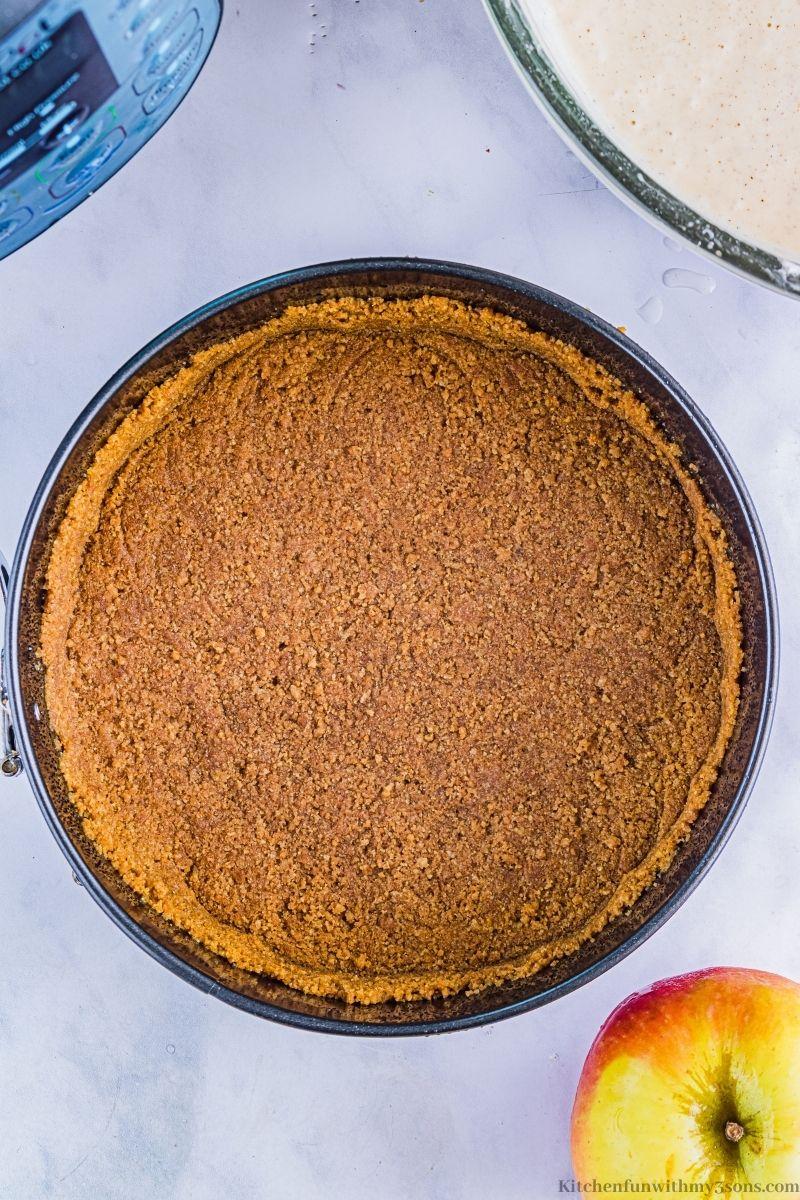 Crust in the prepared pan.