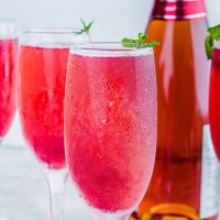 Raspberry Bellini Champagne Cocktail
