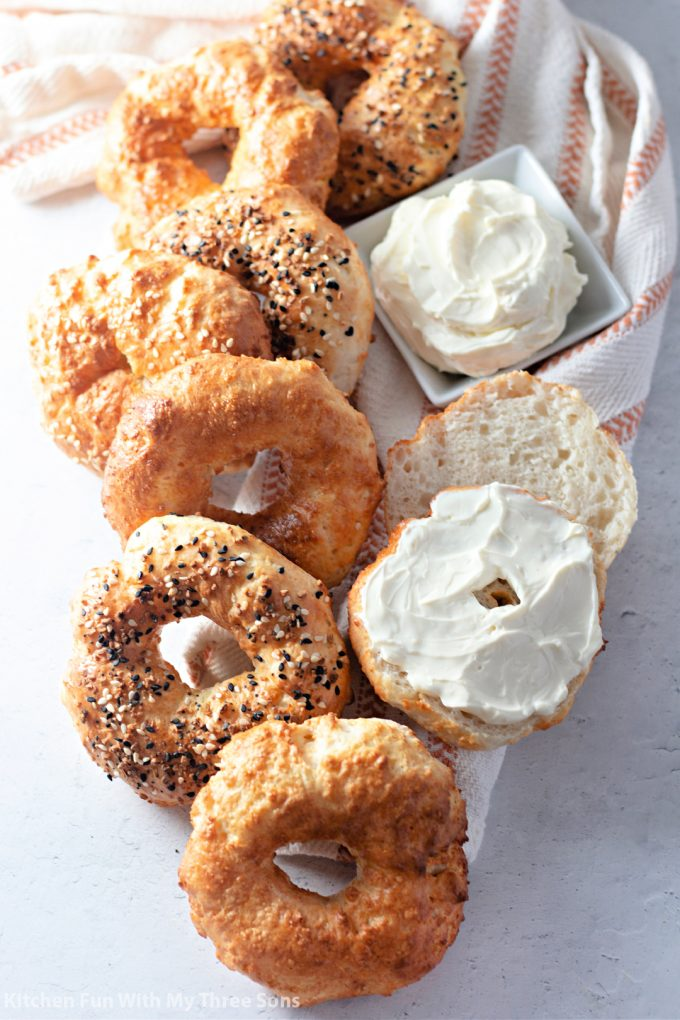 Easy Air Fryer Bagels with cream cheese