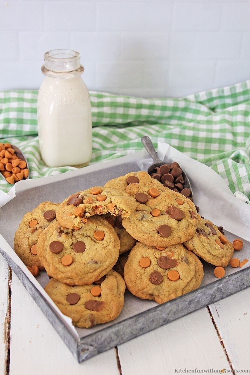 Chocolate Chip Butterscotch Cookies with a side of milk.