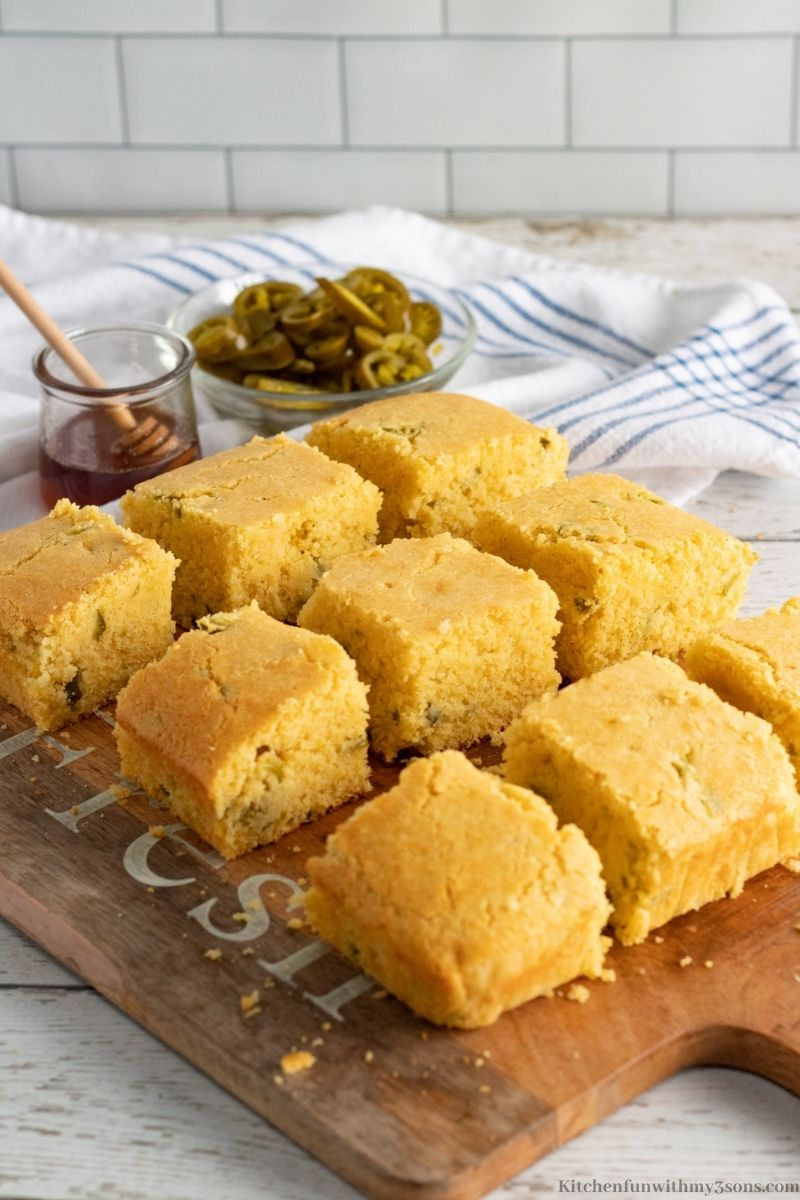 The cornbread sliced into serving pieces.