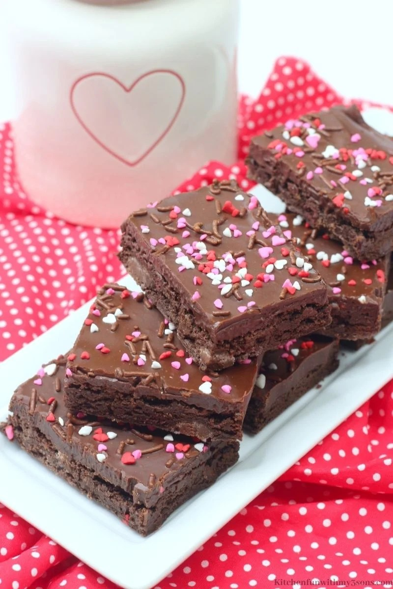 Valentine's Day Brownies on a polka dotted red cloth.