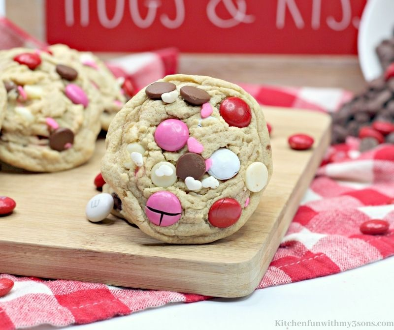 Valentine's Day Chocolate Chip Cookies on a wooden board.