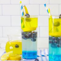 Blueberry Vodka Lemonade has  a sweet vanilla blueberry base and a tart, yet bubbly lemonade layer. It's a delicious cocktail recipe.