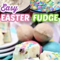 Delicious white chocolate fudge that is covered with Easter candy and sprinkles