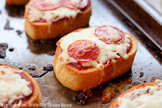 freshly baked Garlic Bread Pizzas.
