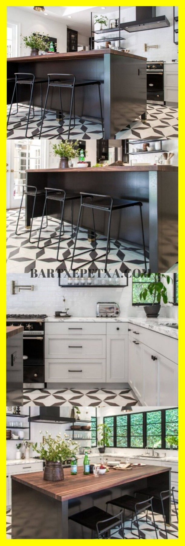 white kitchen cabinets with tile floor