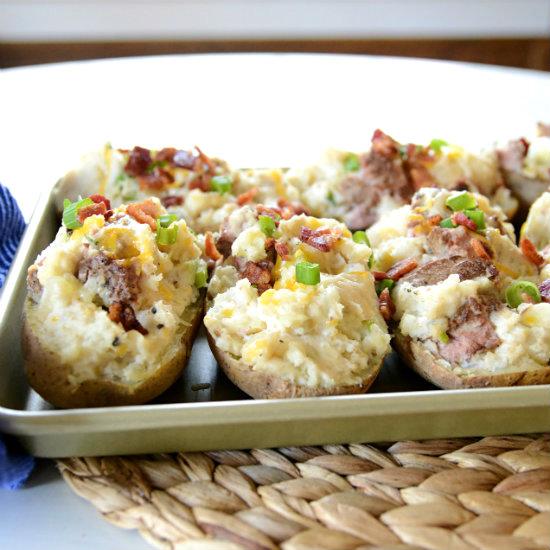 Super Stuffed Baked Potatoes: Steak Stuffed Baked Potatoes