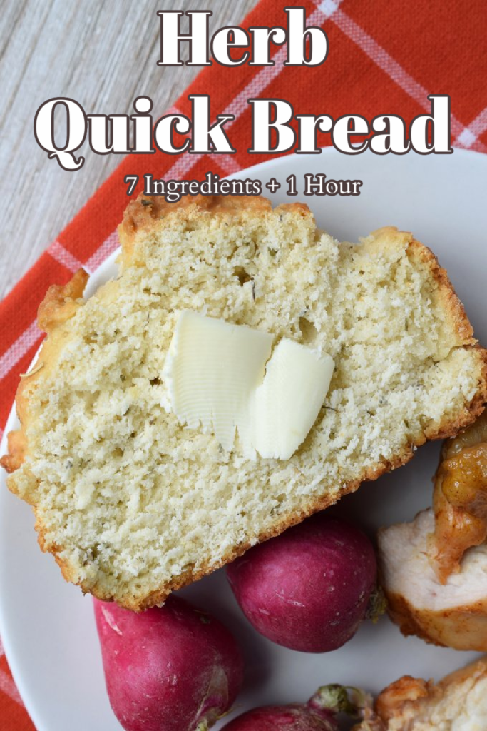 Herb Quick Bread - A delicious bread recipe made with just 7 ingredients in under an hour. Great to serve with soups and stews. Quick Bread Recipe | Herb Bread | Homemade Bread Recipe