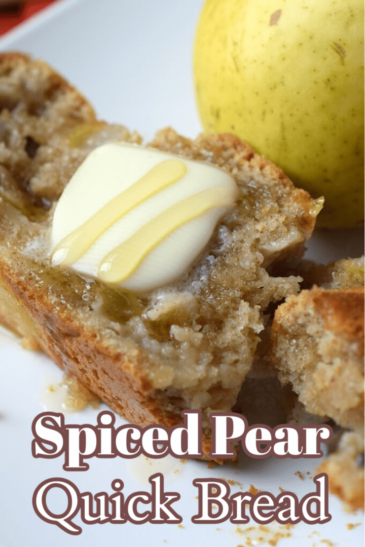 Spiced Pear Quick Bread - This easy quick bread is filled with fall flavors and is made in just 1 hour. This recipe is a great way to use up extra pears! Pear Recipe | Quick Bread Recipe | Pear Bread