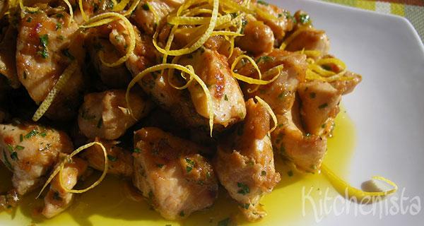 Pollo con límon y ajo