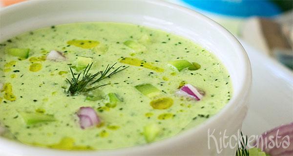 Koude komkommersoep met yoghurt