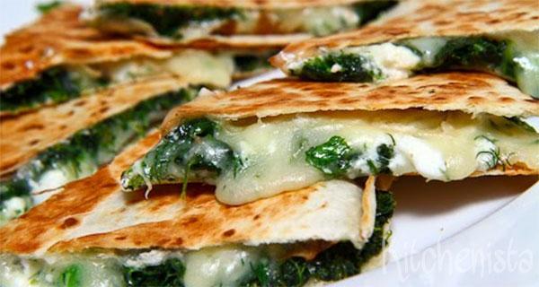 Quesadilla met spinazie
